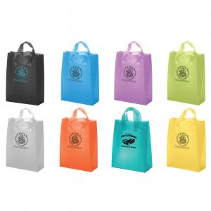 """10"""" x 5"""" x 13"""" Frosted Soft-Loop Colorific Shopping Bags"""