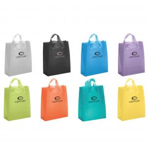 """13"""" x 6"""" x 17"""" Frosted Soft-Loop Colorific Shopping Bags"""