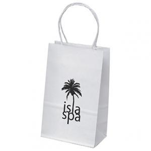"""6"""" x 3.25"""" x 8.25"""" White Kraft Paper Bags"""
