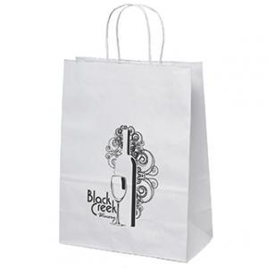 """10"""" x 5"""" x 13"""" White Kraft Paper Bags"""