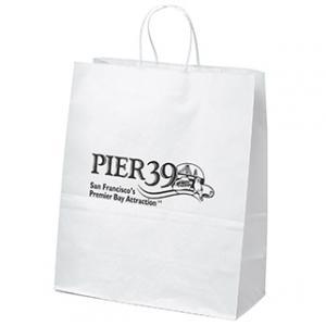 """13"""" x 6"""" x 15.75"""" White Kraft Paper Bags"""