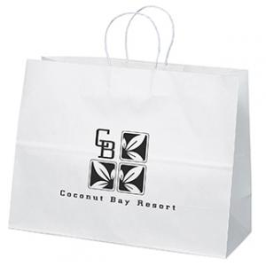 """16"""" x 6"""" x 12"""" White Kraft Paper Bags"""