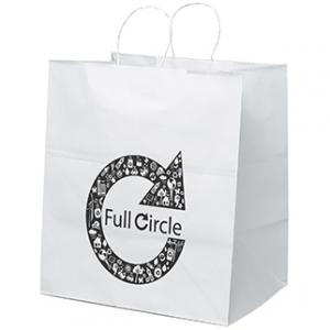 """14"""" x 10"""" x 15.5"""" White Kraft Paper Bags"""