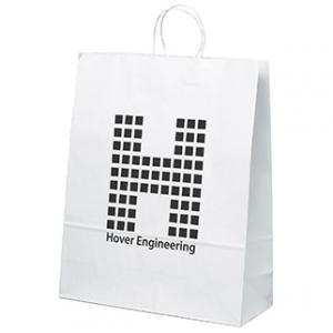"""16"""" x 6"""" x 19.25"""" White Kraft Paper Bags"""