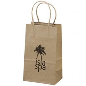 """5.25"""" x 3.25"""" x 8.25"""" 100% Recycled Brown Paper Shopping Bag"""