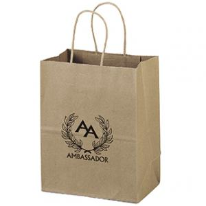 """7.75"""" x 4.75"""" x 9.75"""" 100% Recycled Brown Paper Shopping Bag"""