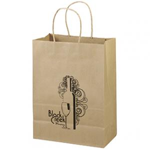 """10"""" x 5"""" x 13"""" 100% Recycled Brown Paper Shopping Bag"""