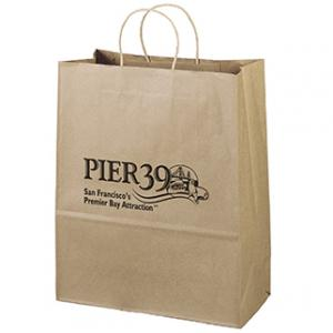 """13"""" x 6"""" 15.75"""" 100% Recycled Brown Paper Shopping Bag"""