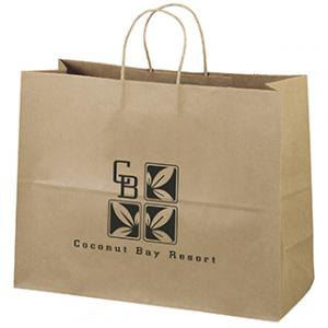 """16"""" x 6"""" x 12"""" 100% Recycled Brown Paper Shopping Bag"""