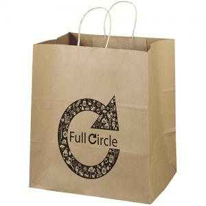 """14"""" x 10"""" x 15.5"""" 100% Recycled Brown Paper Shopping Bag"""