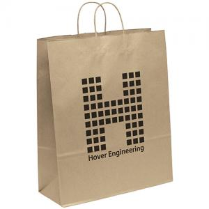 """16"""" x 6"""" x 19.25"""" 100% Recycled Brown Paper Shopping Bag"""