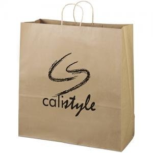 "18"" x 7"" x 18.75"" 100% Recycled Brown Paper Shopping Bag"