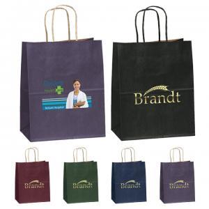 "7.75"" x 4.75"" x 9.75"" Kraft Matte Shopping Bags"