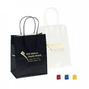 "7.75"" X 7.75"" X 9.75"" Kraft Gloss Shopping Bags"
