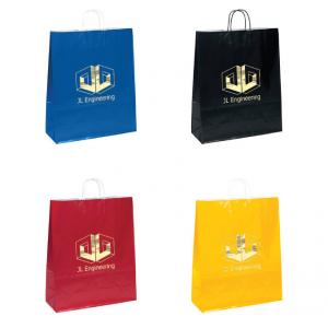 "16"" x 6"" x 19"" Kraft Gloss Shopping Bags"
