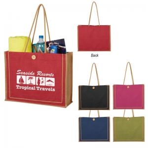 Biodegradable Jute Tote with Button Loop Closure