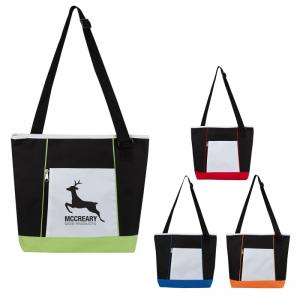 Color Blocking Polyester Tote Bag with Adjustable Shoulder Strap