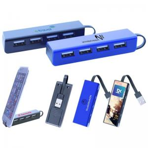 2.0V 4-Port USB Hub w/Phone Stand