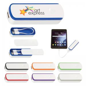 2200 mAh UL Listed Power Bank with Cable Storage