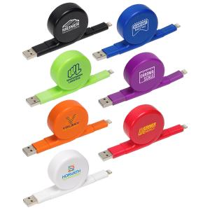 Retractable 2-in-1 USB Charging Cable