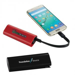 2200 mAh UL Listed Chamber Power Bank with Cord Storage