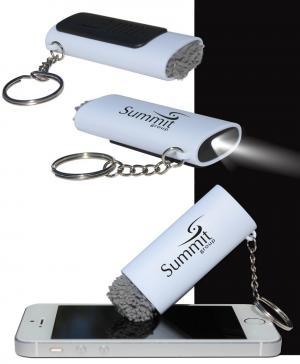 Microfiber Brush with LED Light Keychain