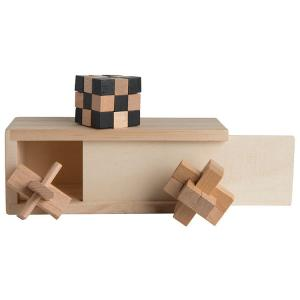 3-in-1 Wooden Box Puzzle Set