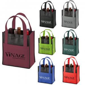 Two Tone Six Bottle Non Woven Wine Tote