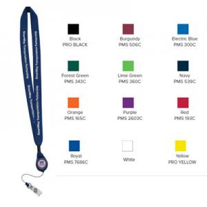 "3/4"" Cotton Lanyard with Metal Crimp and Retractable Badge"