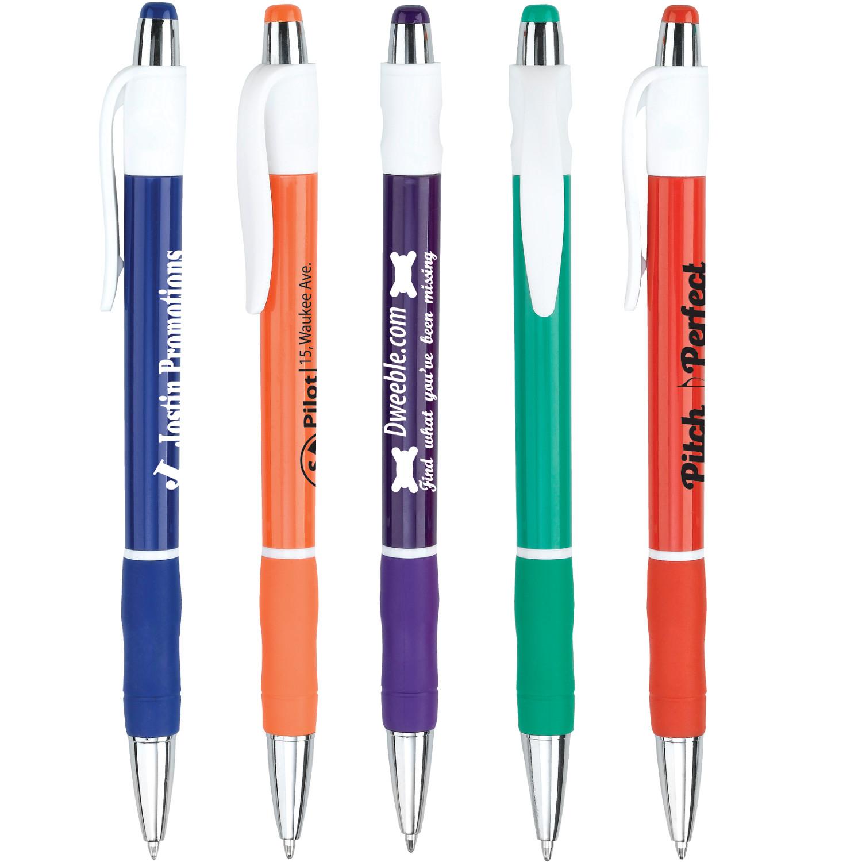 Chrome Tip Colored Rubber Grip Retractable Pen