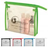 "6.75"" x 7.75"" Clear Color Trim Travel / Cosmetic Bag"