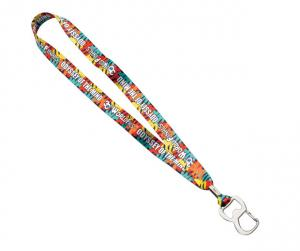 "3/4"" Dye Sublimated Lanyard with Metal Crimp and Metal Bottle Opener"