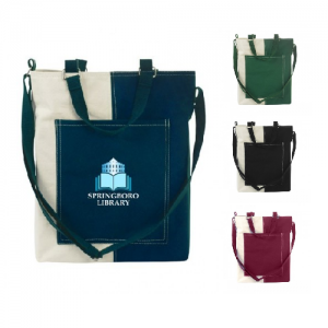 Multi-Color Cotton Tote with Over-sized Outside Pocket