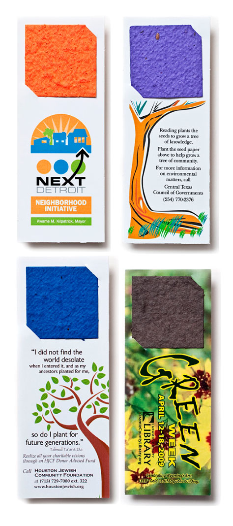 2 x 5 Eco Friendly Plantable Seed Paper Square Bookmark