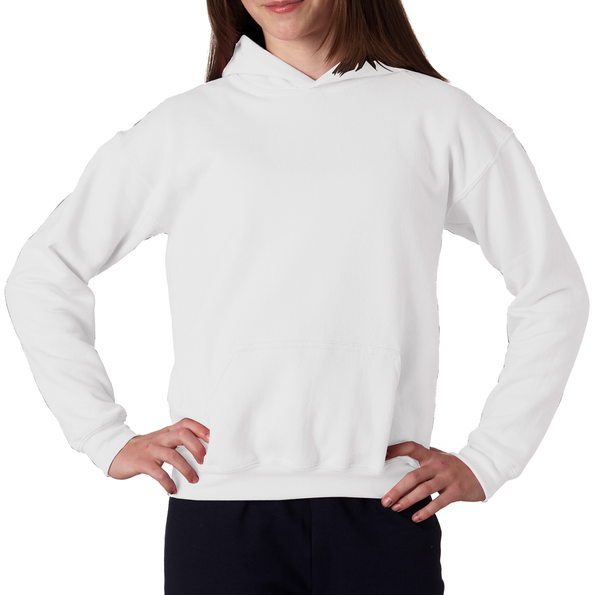 White Gildan Youth Heavy Blend Hooded Sweatshirt