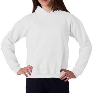 White Gildan Youth Heavy Blend Hooded Sweatshirt