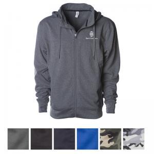 Independent Trading Company Men's Poly-Tech Zip Hooded Sweatshirt
