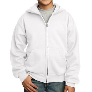 White Port & Company Youth Core Fleece Full-Zip Hooded Sweatshirt