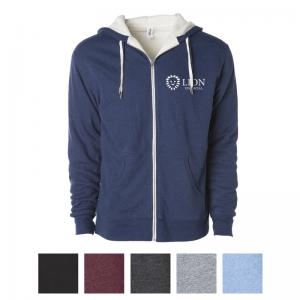 Independent Trading Company Unisex Heavyweight Sherpa Lined Heather Zip Hood