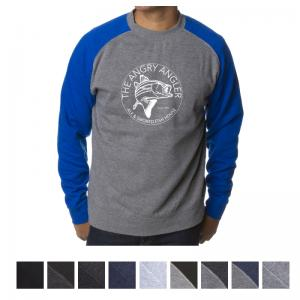 Independent Trading Company Men's Fitted Raglan Pullover Crew Neck Sweatshirt