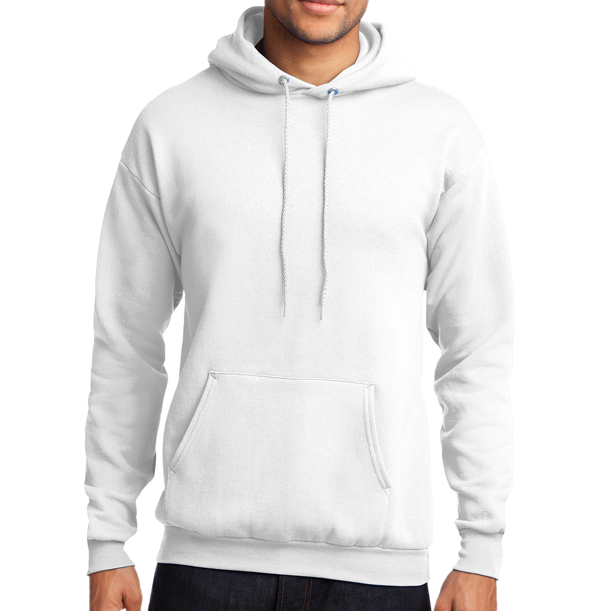 White Port & Company Classic Pullover Hooded Sweatshirt