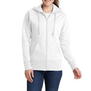 White Port & Company Ladies Core Fleece Full-Zip Hooded Sweatshirt