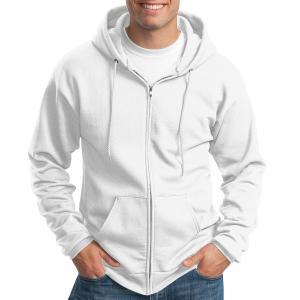 White Port & Company Core Fleece Full-Zip Hooded Sweatshirt