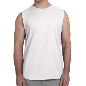 White Gildan Adult Ultra Cotton Sleeveless T-Shirt