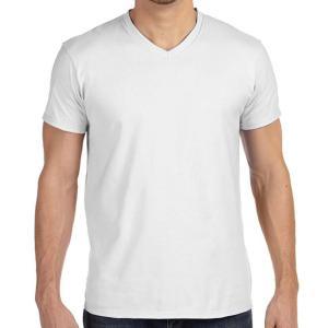 White Hanes Men's Nano-T Cotton V-Neck T-Shirt