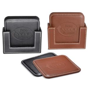 Leather Coaster Set with Stitching