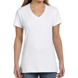 White Hanes Ladies' Nano-T Cotton V-Neck T-Shirt