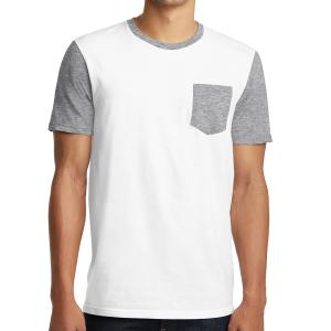 White District Young Men's Very Important Tee With Contrast Sleeves And Pocket