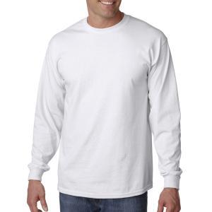 White Gildan Adult Ultra Cotton Long Sleeve T-Shirt