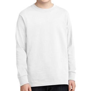 White Port & Company Youth Long Sleeve Core Cotton T-Shirt